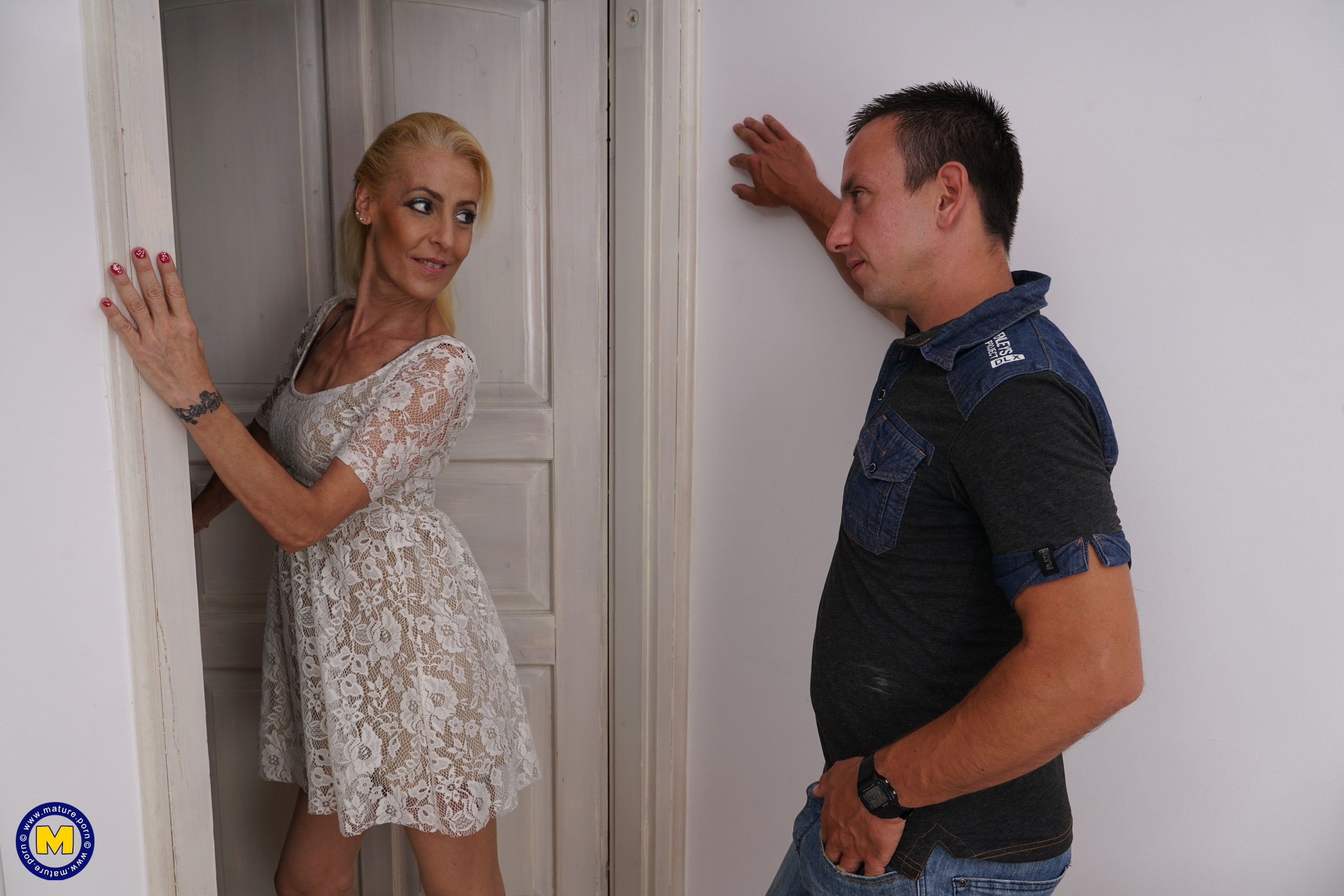 Horny British housewife playing with her toy boy
